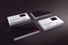red business card piles